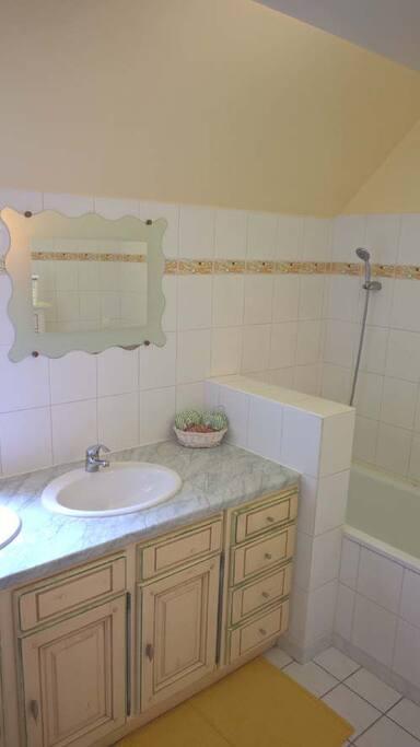 La salle de bain avec 2 éviers et une douche