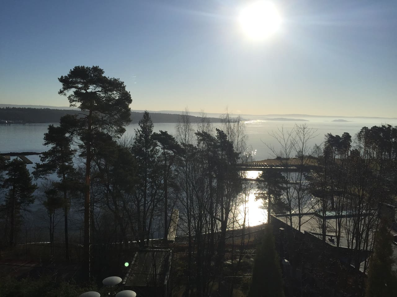 View from the main floor - the Oslofjord in early spring morning light