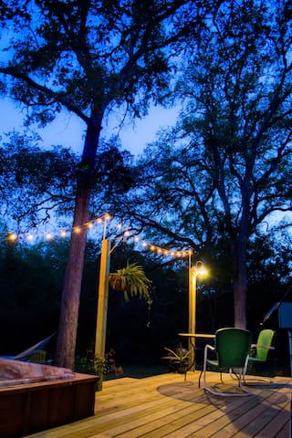 Dine al fresco under the twinkle lights.