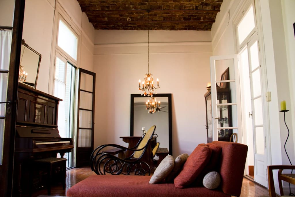 main salon with brick ceilings