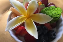 Fresh Fruit In Season Served With All Breakfast Selections.  Enjoy On Your Private Balcony Or Poolside.