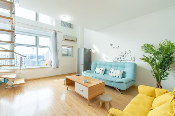 【愛巢公寓】温馨投影复式,近机场,肿瘤医院