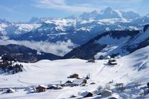 Le Praz de Lys l'hiver avec le Mont Blanc en fond