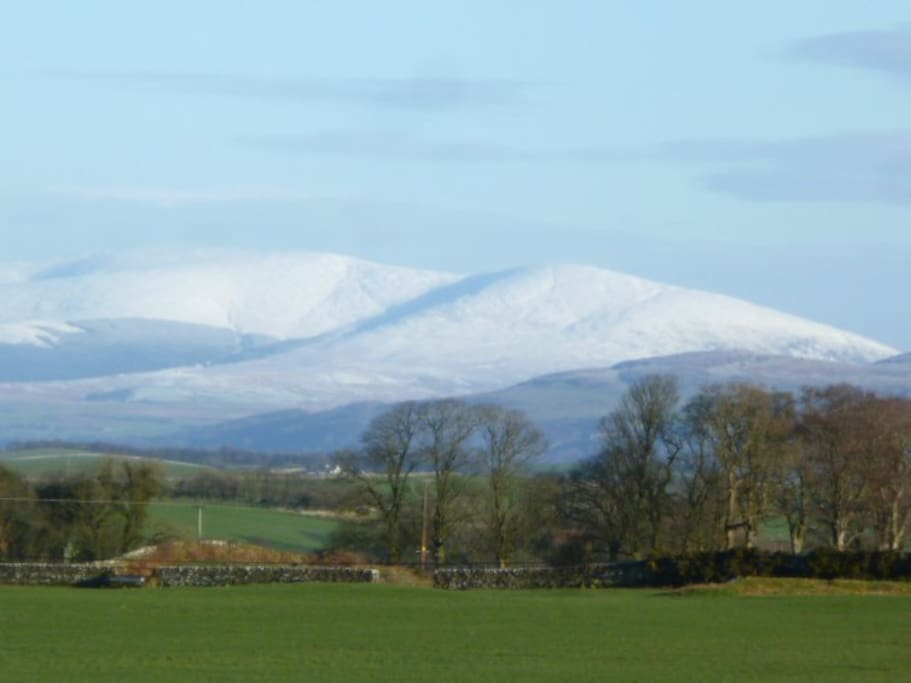 view from the lodge, to Galloway Hills