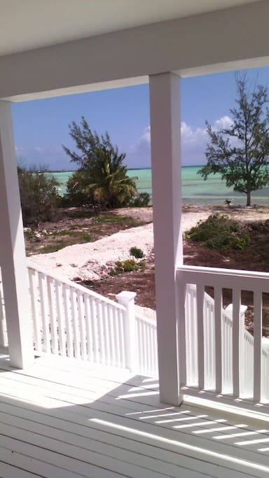 The view from the porch of the villa to the bonefish flat