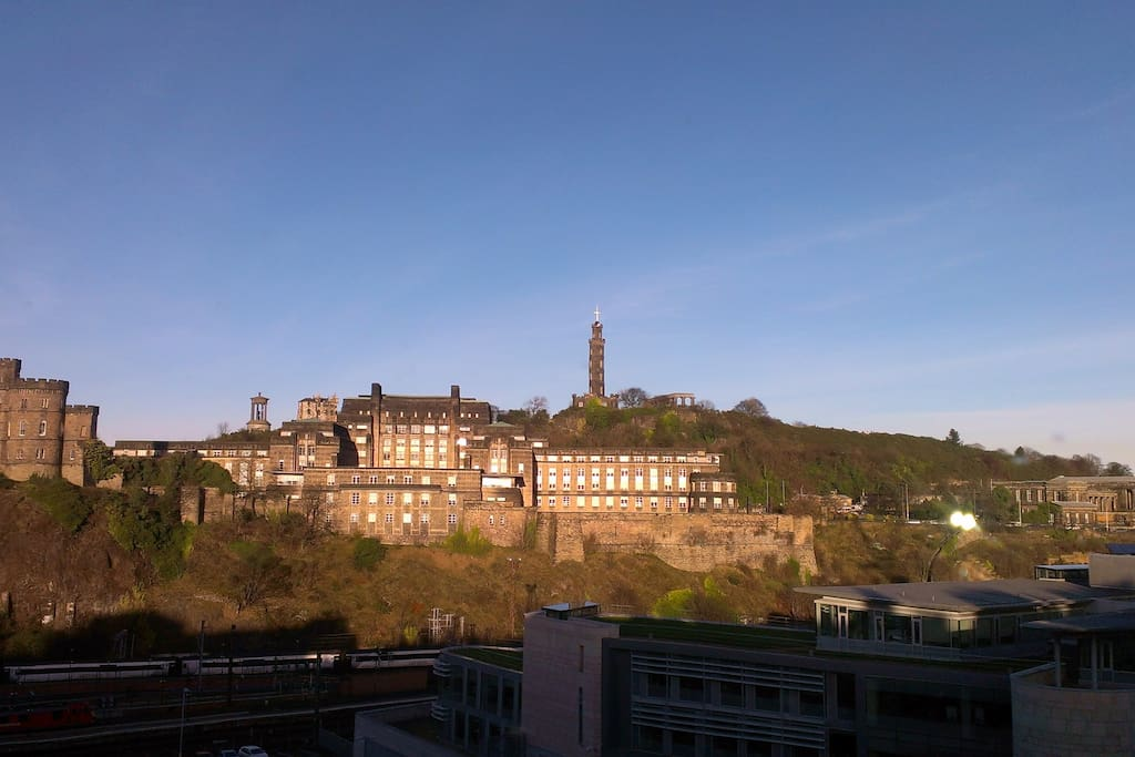 The open view to Calton Hill from the main bedroom