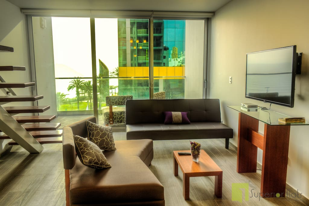 Fully equipped and carefully decorated duplex with sea view