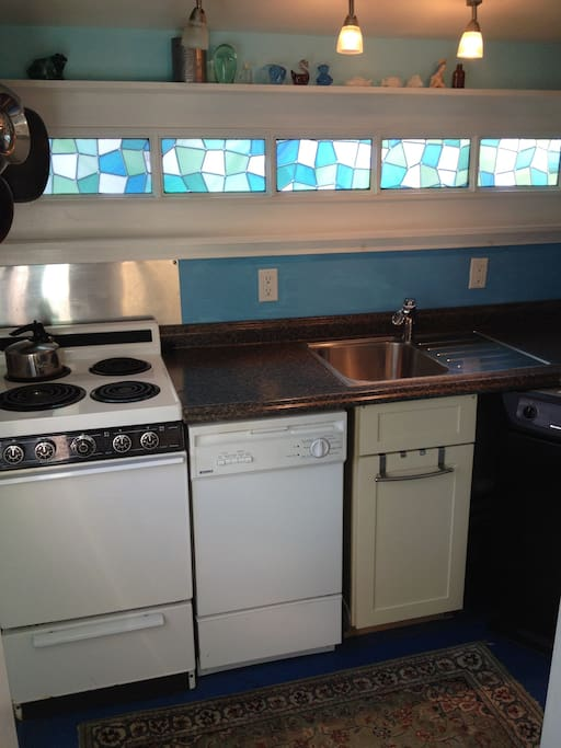 Galley kitchen packs all the amenities in a small footprint.