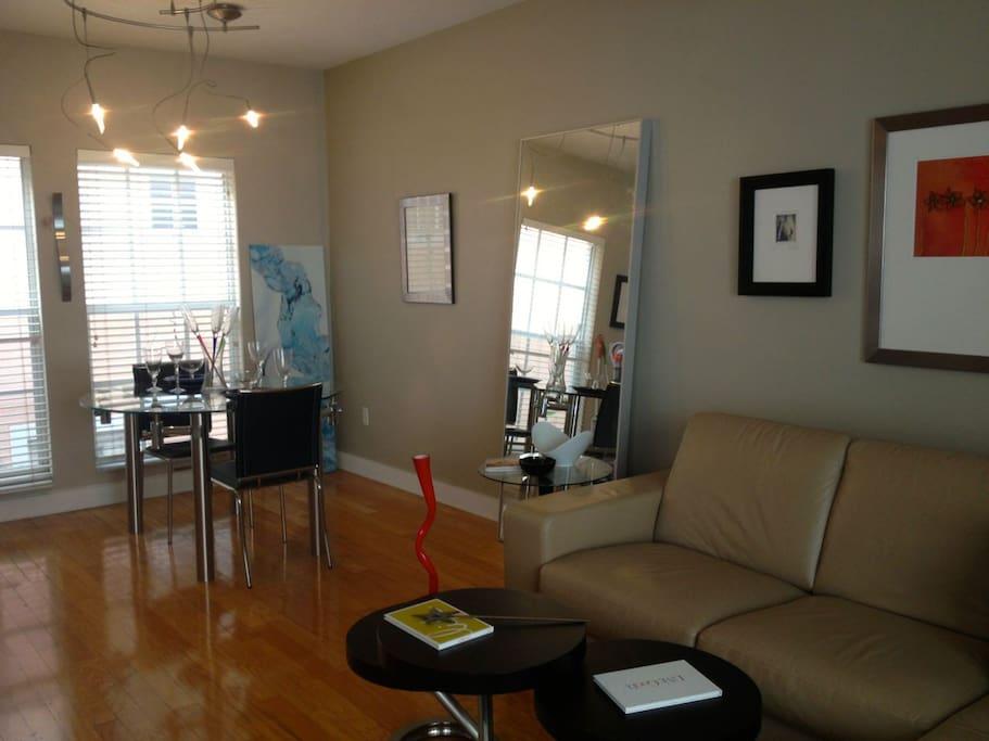 Modern living, dining gathering space.