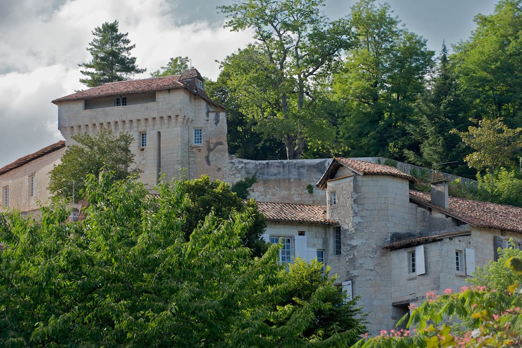 The Chateau d'Aubeterre that stands over the apartment and is a landmark of the village