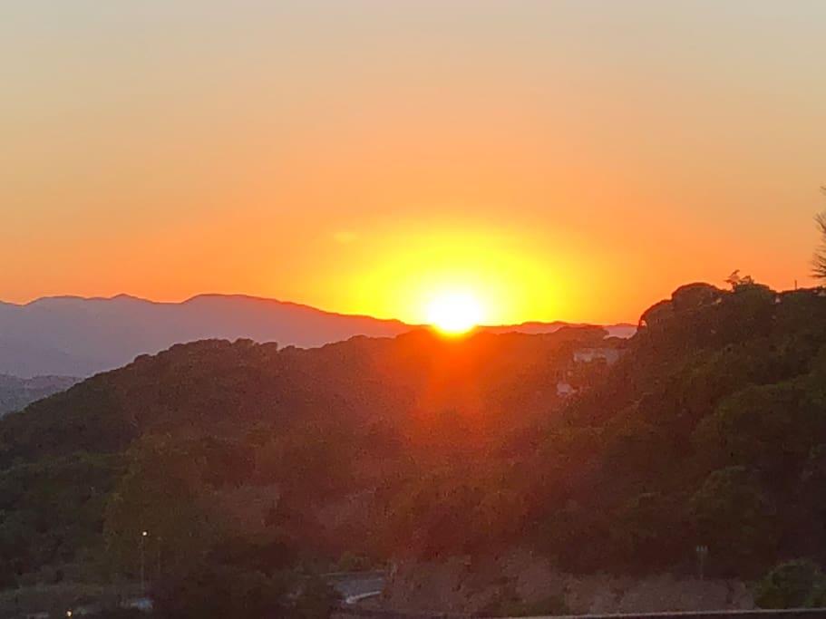 Sunset as the villa