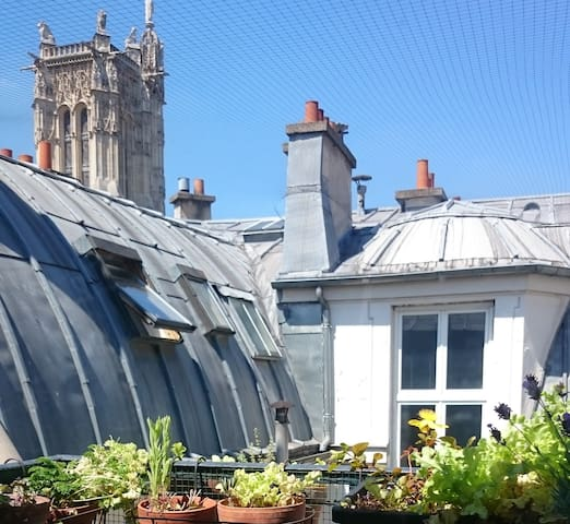 Sunny studio with balcony in the center of Paris