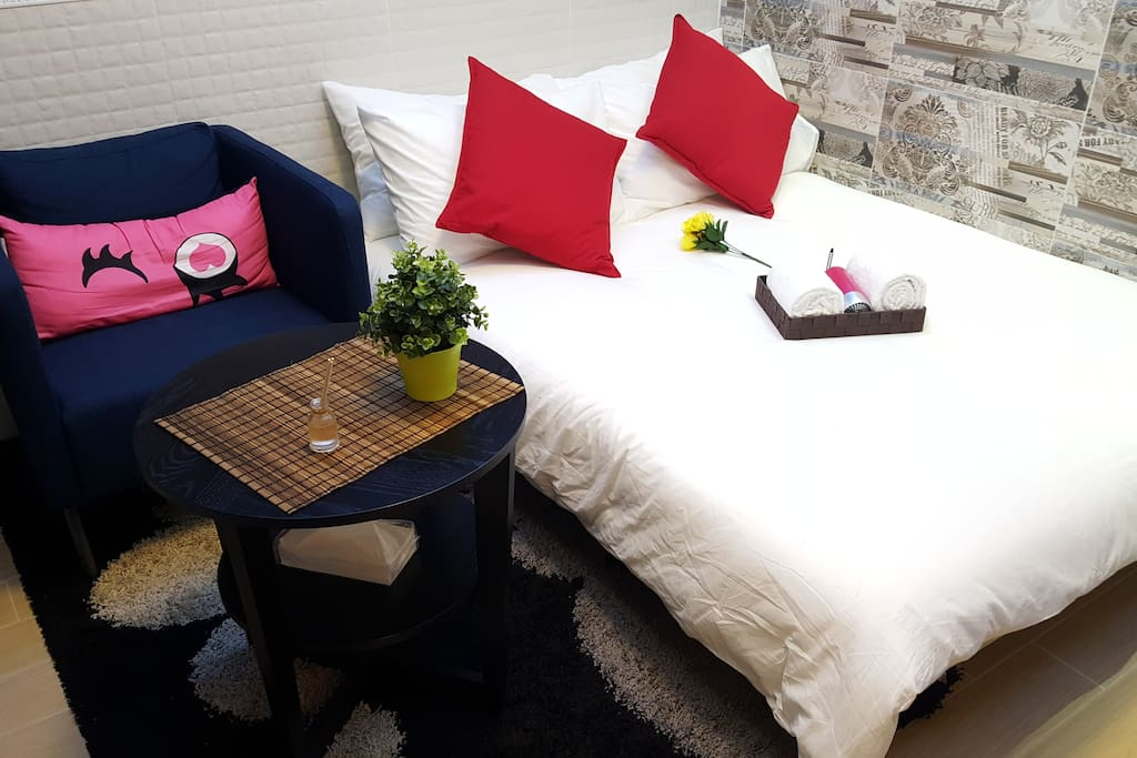All the basics you need. Very comfortable double sized bed, sofa, table for latptop