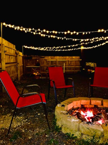 Fire pit with the lights on