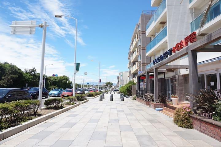 ワンチャンも泊まれるビーチが目の前のホテルです。江ノ島・鎌倉観光に最適です。