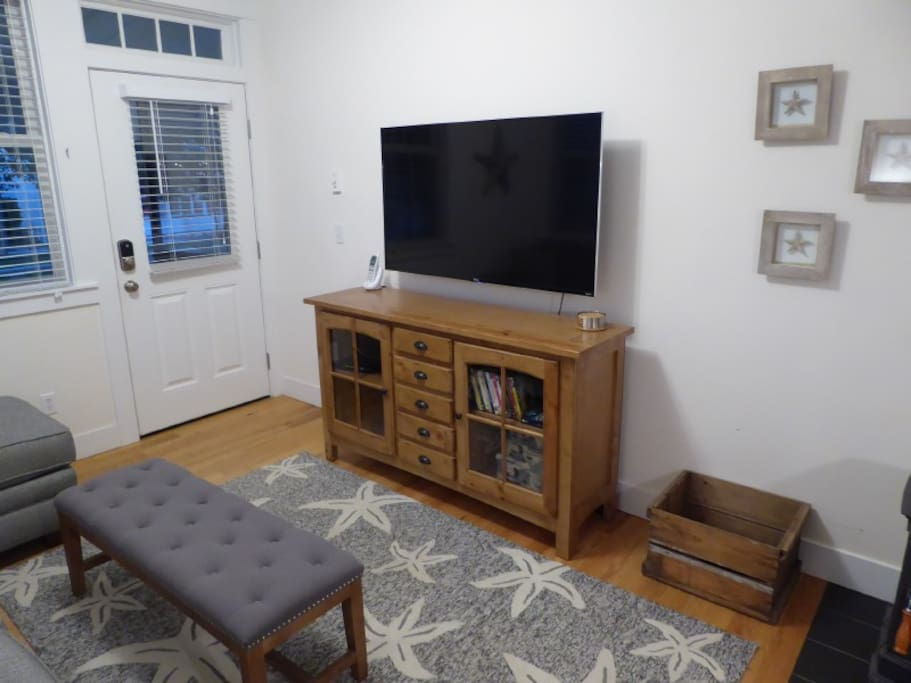 The large 52 inch TV is there to enjoy on stormy winter days