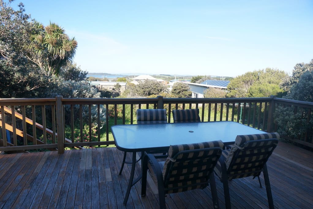 The deck, with views to Churchill island and swan bay.