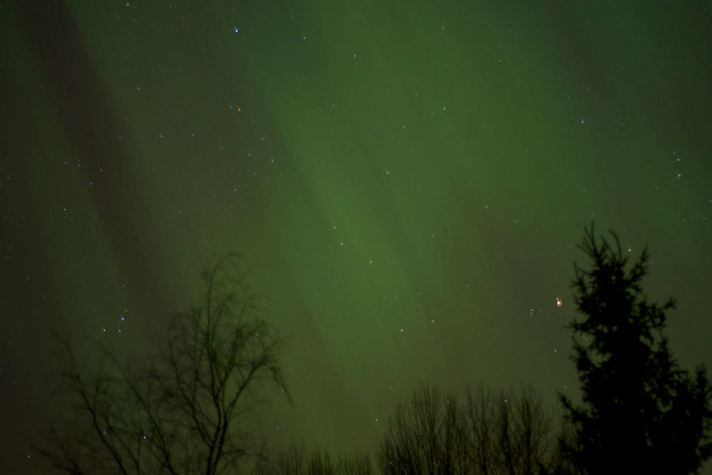 If you have good  luck, you can see Northern Lights. Photo in March 2015, Aurora Borealis.