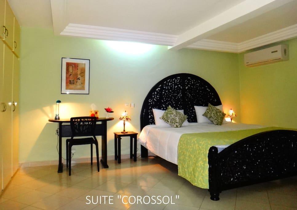 Suite Corossol. Double. Espace salon convertible. Baignoire, Wifi, Canal Plus, Air conditionné. CFA 81.000 – EUR 125 / 1 nuit (1 personne)