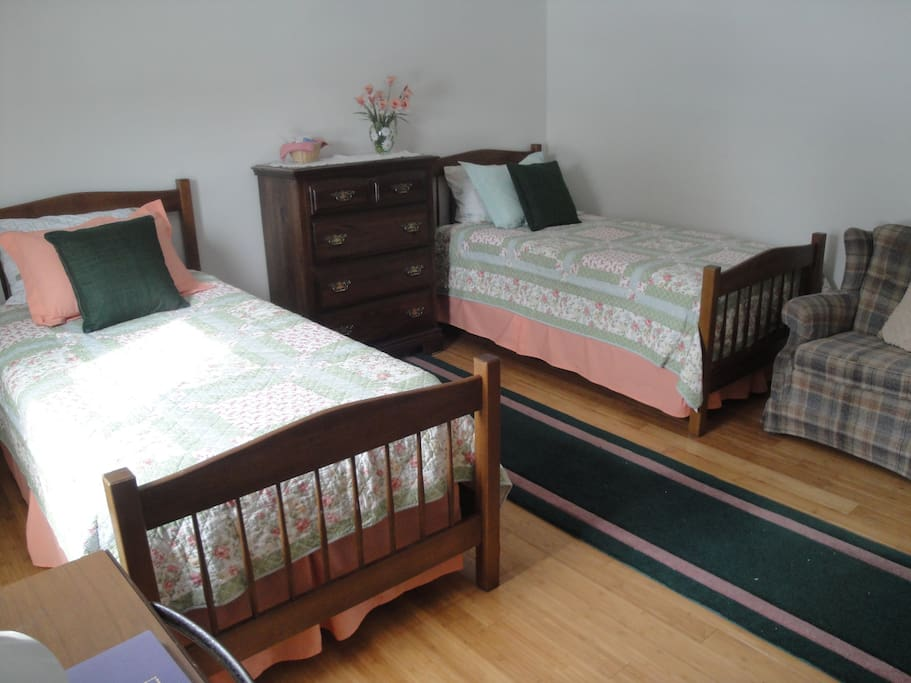 Another view of the guest bedroom.  There is room for a roll-away bed or a blow-up mattress at the foot of the beds.
