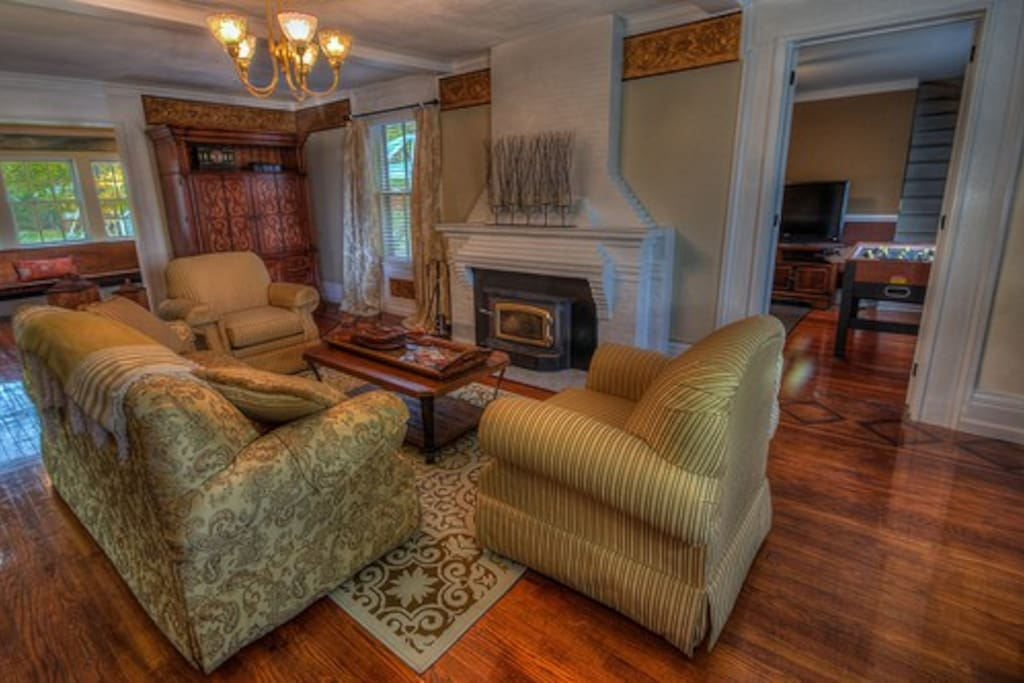 A wood burning fireplace is also located in the living room. There is also a full size sleeper sofa.