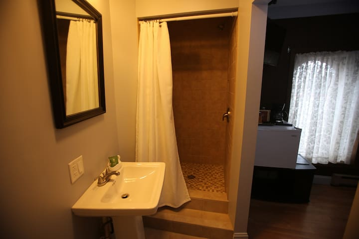 full bathroom with step-up tile shower