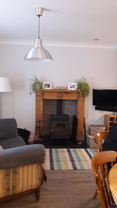 Cosy multi Fuel stove within Kitchen