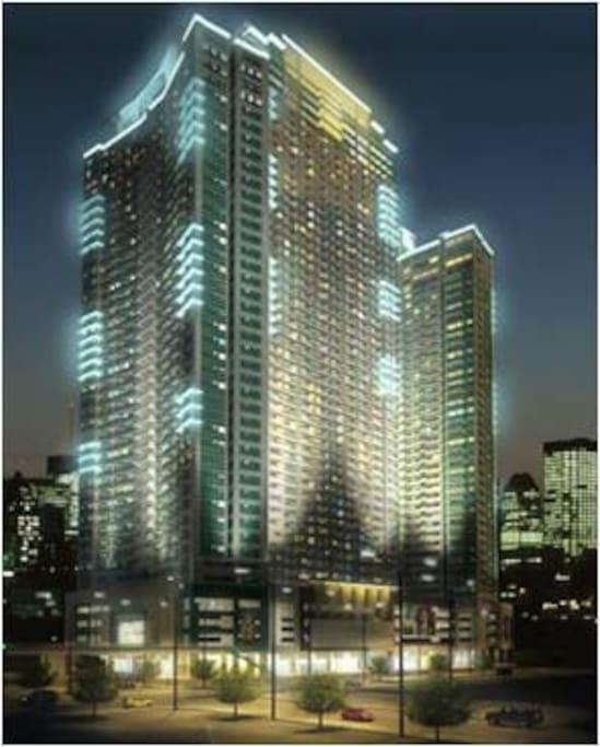 Beacon tower at night