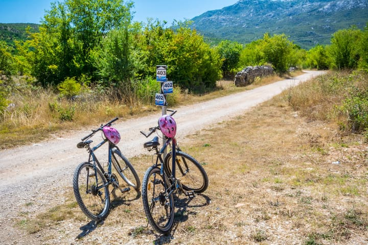 MARKED BIKE TRACKS ONLY 50m DISTANCE FROM OUR VILLA