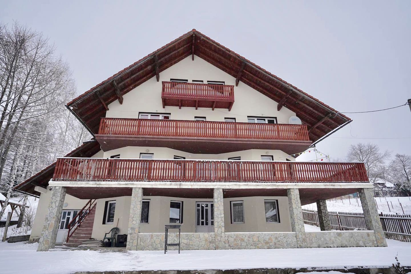 Pension type witch holds 9 bed rooms: First floor- bed rooms with private bath room, kitchen and outdoor terrace