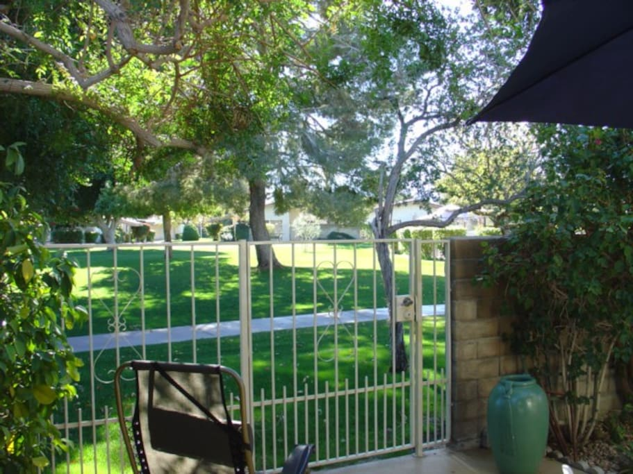 Steps from shared pool and hot tub facilities