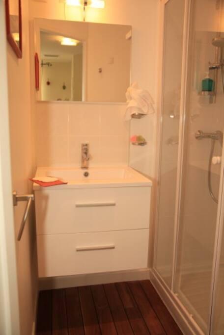 Une SDB privative avec wcs et draps de bain fournis.