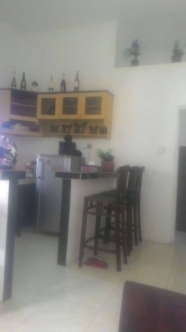 Mini Bar and Kitchen include Gas stove ,Dining Ware and rice com ,Glass ware,Refrigerator,Kitchen Set Cabinet.