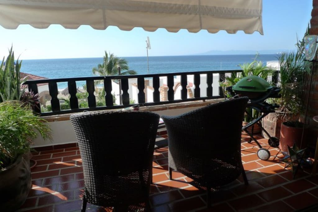 Balcony with Ocean View. Roll down blinds if you wish.