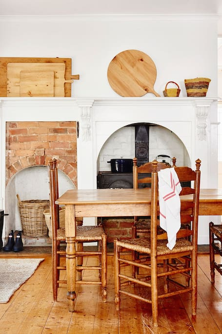 Kitchen with wood fired stove