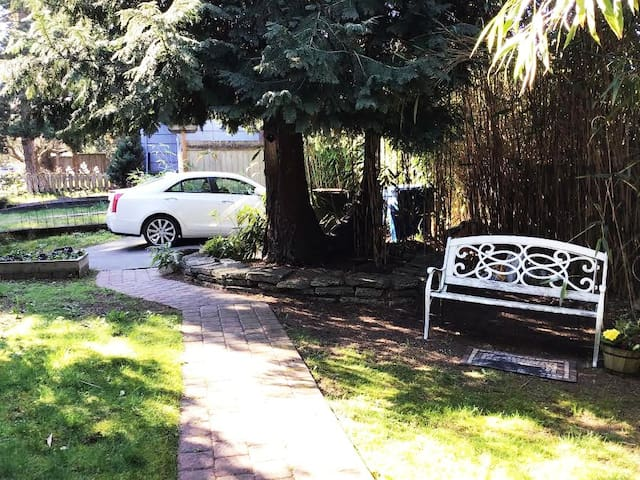 Where the white car is is parking for two cars.  Or a small truck & one car. Drive-up very slowly and pull up all the way to fence and bamboo! Be sure to tuck in go far to left or right so your cars rear end is not blocking the other vehicle! Thanks!