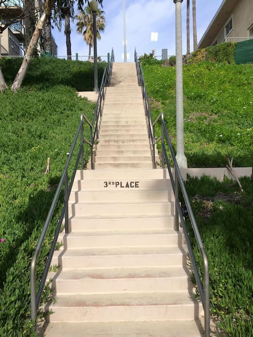 Steps go down to beach!
