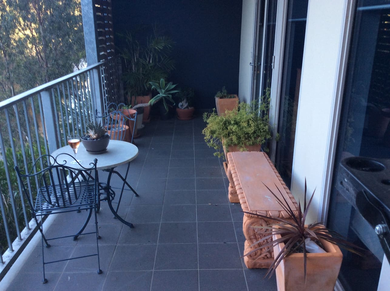 Balcony access overlooks the Yarra River and its walking and bike trail.