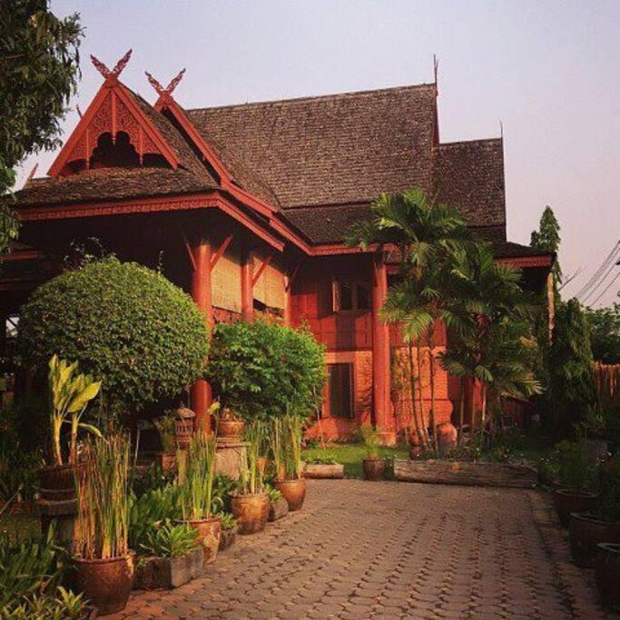 Golden teak wood Thai northern style house