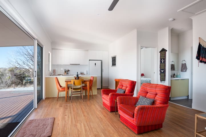 Northerly aspect living, dining and kitchen