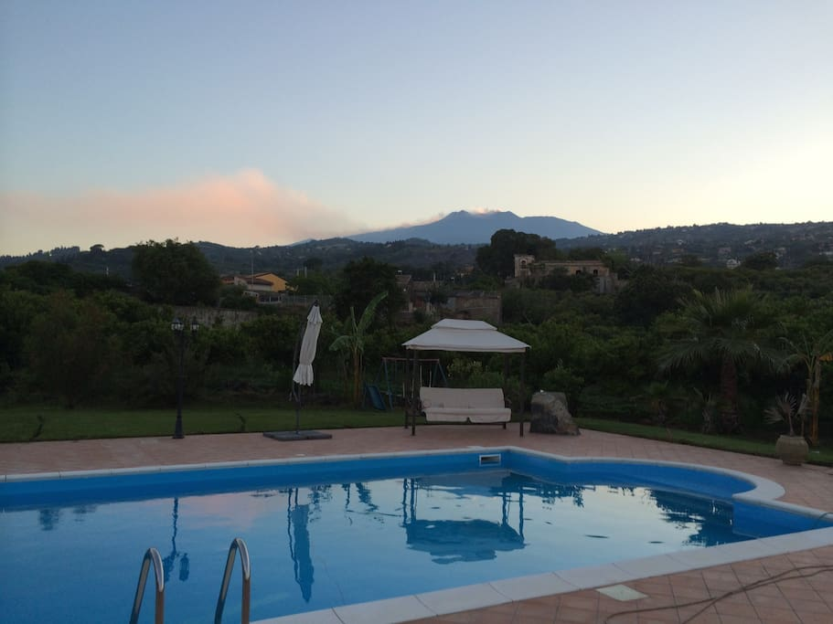 Private Pool, View of the Biggest active volcano in Europe and view of the Sea in front. . Just Perfect . .