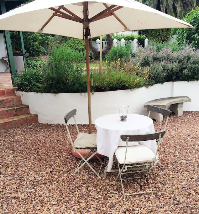 The outside seating area with great views of the garden.