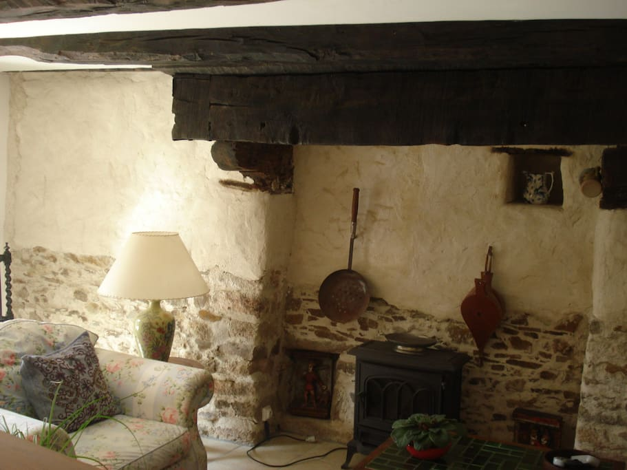 The lounge area with Breton fireplace