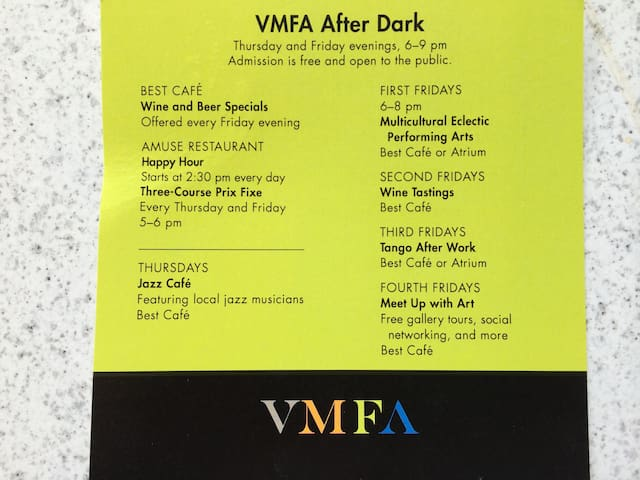 Check out the happenings at the Virginia Museum of Fine Arts--4 blocks up the street from us