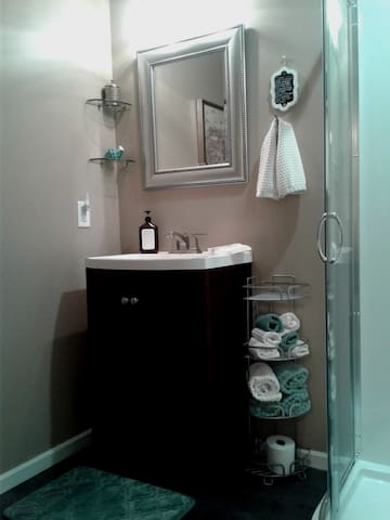 Private 3/4 bathroom, next door to the guest room.