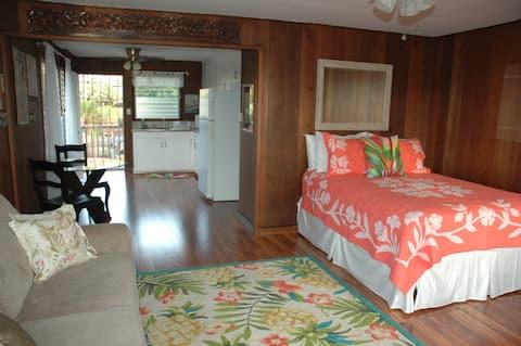 Spacious studio apartment w/curly koa wood flooring throughout.