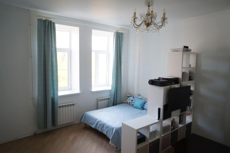 Большая просторная гостиная разделена на две зоны- спальня и гостиная