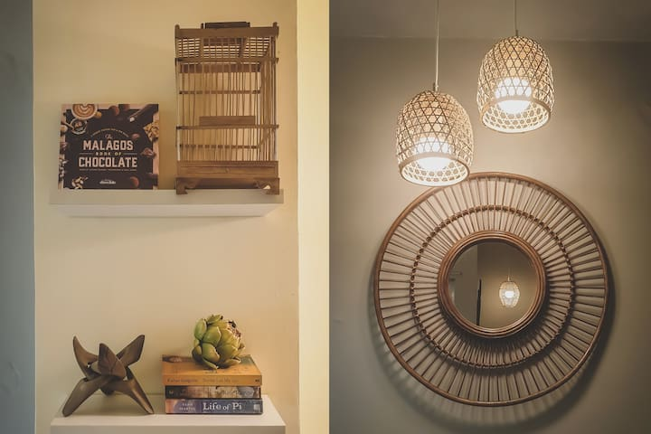 Tropical-inspired decor made by local artisans.