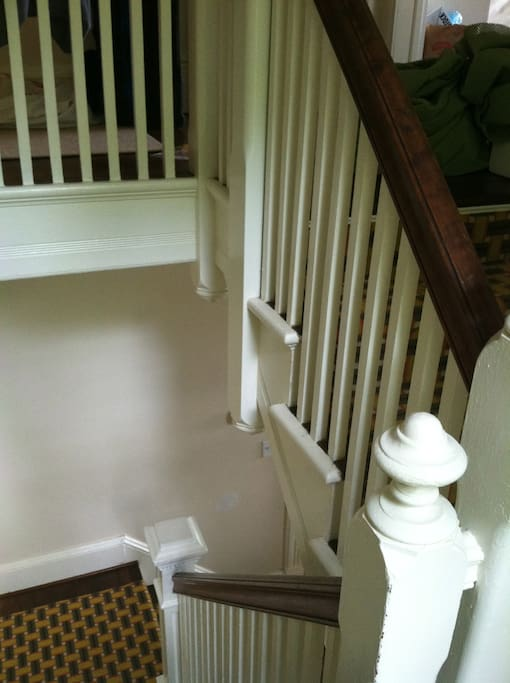 charming staircase - an example of molding and trim throughout the house
