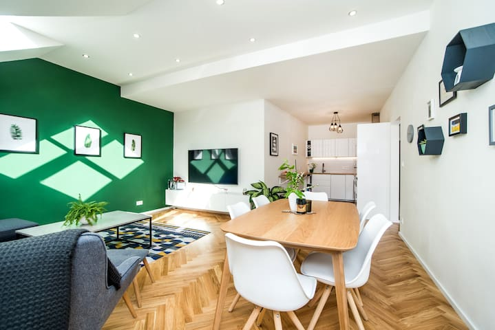 Beautiful 2-bedroom loft apartment in Letná
